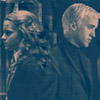 quietspring: Image: Draco and Hermione from the Harry Potter universe, backs turned against one another in anger. (angsty dramione)