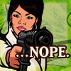 eleanorjane: Lana Kane from Archer, holding a gun, captioned with 'Nope'. (lana, nope)