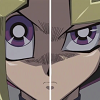 alexseanchai: Yuugi's right eye and Yami Yuugi's left eye (Yu-Gi-Oh! Yuugi and Yami Yuugi side by s)