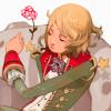 mathemagicalschema: A blonde-haired boy asleep on an asteroid next to a flower. (astroprince) (Default)