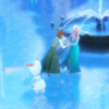 daphnie_1: Anna and Elsa from Frozen skating on a frozen pond with Olaf the snowman. The icon is coloured a pale blue. (Disney | Frozen | Anna & Elsa)