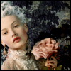 ria: Silver-haired lady holding a rose. (antique rose)