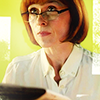 susanreads: Gill Murray from Scott & Bailey, with glasses (watching the detectives)
