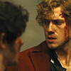 pro_patria_mortuus: Enjolras and Courfeyrac in hurried consultation, with blood on Enjolras's face (chief & center: leaders of the barricade)