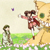 toran: Tales of the Abyss: Ion and Anise sitting in a field with Tokunaga. (something about phones)