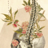 scallion: skull with spine and flowers coming out of left eye (satori)