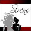 "talibusorabat: A silhouette of Medusa standing behind a silhouette of a girl reading, with the caption ""Sirens"" (Sirens)"