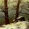 valley: tall bare trees stand in the winter gloom (Art: Caspar David Friedrich)