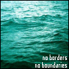 "genarti: Ocean water with text ""no borders, no boundaries."" ([misc] no boundaries)"
