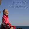 """genarti: Older woman sitting cross-legged on high rock, looking out into sky, text """"live a life less ordinary."""" ([misc] live a life extraordinary)"""