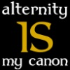 "ladyrelaynie: ""Alternity is my Canon"" Hufflepuff colors.  Icon made by jenett (Huffleternity Canon)"