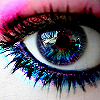 outlineofash: Close-up of an eye with a rainbow-colored iris and glittery eye shadow. (Cheshire Cat)