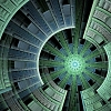kate_nepveu: green and blue fractal resembling layers of a spaceship (science fiction)