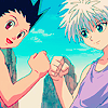 catlarks: Gon and Killua from Hunter x Hunter triumphantly bumping fists together. (Killugon Fistbump)