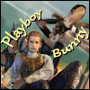 "sathari: Picture of Balthier and Fran from FFXII, his caption reads ""Playboy"" and hers reads ""Bunny"" (Balthier's a playboy and Fran's a bunny)"