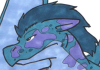 zeeth_kyrah: A blue and purple dragon's head, with horse-like mane and ears, but no horns. A broad wing is visible over the shoulder. (Dragon)