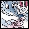 zeeth_kyrah: A dragon child plays with two stuffed animals, a rabbit and an axolotl. (deliberate play)