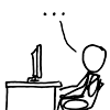 sofiaviolet: xkcd stick figure sitting in front of a computer, speaking/thinking an ellipsis (pic#796218)