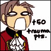 "athena_cat: Young Edgeworth screaming with the text ""+50 trauma points"" (AA - NGHOOOH)"