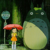 zlabya: Totoro and Satsumi waiting at the bus stop in the rain (Totoro)