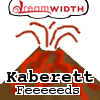 "kaberett: A volcano, with the DW logo up top, with my username + ""Feeeeeeeds"" (_support)"