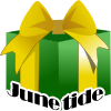 "junetide: a wrapped present with the text ""Junetide"" (juentide)"