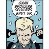 "next_to_normal: Clint (Hawkeye comic) fingers in ears, speech bubble: ""Gaah spoilers spoilers shut up."" (No spoilers)"