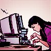 next_to_normal: Kate Bishop typing on a computer with two fingers (Computer Kate)