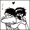 turlough: Gerard Way & Frank Iero hugging, art by theopteryx ((mcr art) having a moment)