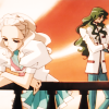 mikogalatea: Saionji and Nanami from Revolutionary Girl Utena, waiting on the Student Council balcony at sunset. ([Utena] Saionji/Nanami)