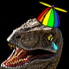 sunnymodffa: emo raptor in a rainbow beanie (party emo raptor)