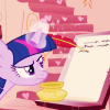 metatxt: twilight sparkle using her magic glowy unicorn horn to write magically, floating quill to paper (mlp: flow)
