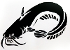 katherine: Whiskery catfish, papercutting of dark paper with cream background (catfish papercut)