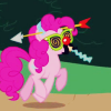 metatxt: pinkie pie with her silly glasses on for a prank (mlp: patootie)