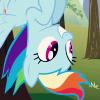 paxpinnae: Rainbow Dash, hanging out (and down). (upside-down rainbow dash, friendship is magic)