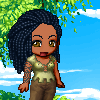 nierika: Darker skinned girl with dreadlocks, a green tunic, and a smile, standing in a tree (chibi, me)