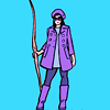 thewrongkindofpc: Kate Bishop in a purple pea coat and holding a bow, sunglasses on like a badass (kate bishop)
