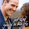 carodee: Sentinel, Jim grinning down at Blair. Text: just glad you're in my life (TS Glad ur in my life)