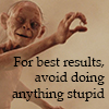 morgynleri: gollum with the ring, text is: for best results, avoid doing anything stupid (best results)