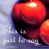 "anonymous_sibyl: Red plums in a blue bowl on which it says ""this is just to say."" (Poetry--Plums)"