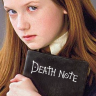 dancesontrains: Ginny Weasley holding up a book marked 'Death Note' (Ginny's Death Note)