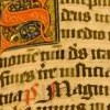 arduinna: page from an illuminated manuscript, with a red capital S in the top left corner (capital S)