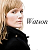"unlettyrde: Blonde woman looking over her shoulder; text is ""Watson"" (Watson)"
