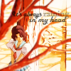 "mikogalatea: Shiori from Revolutionary Girl Utena, waiting behind a tree. Icon text: ""It's always raining in my head"" (Shiori; downcast)"