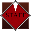 synecdochic: background of the Shinra Electric Power Company logo, with 'staff' in black letters (shinra - staff)