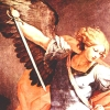 rabbitt: Detail of Guido Reni's painting Michael, showing the face, wings and sword of the archangel. (angels)