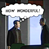 "arduinna: Cartoon Walter and William Bell from Fringe, with the thought bubble ""how wonderful!"" (wonderful)"