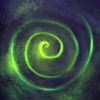 arethinn: glowing green spiral (dark (skull))
