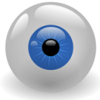 shinydan: Blue eye, perfectly round, hovering in mid-air. (Myopedia)