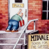 """kate_nepveu: cartoon of child pushing despairingly on door labeled """"Pull"""" (Midvale School for the Gifted)"""